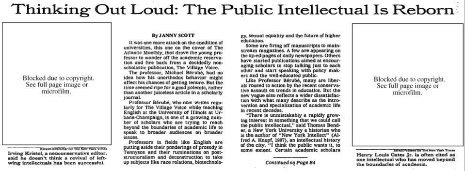 1994 - The Public Intellectual Is Reborn